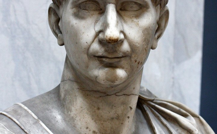 Portrait bust of the emperor Trajan (ruled A.D. 98-117) in the Vatican Museums (inv. 2269).  Frontal view of the face.  The Vatican dates this bust to 103-117 CE/A.D.   Ref: RBU2009.2490