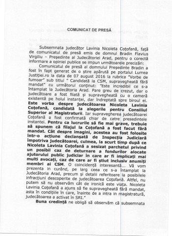 COMUNICAT DE PRESA - JUDECATOR LAVINIA NICOLETA COTOFANA_Page_1